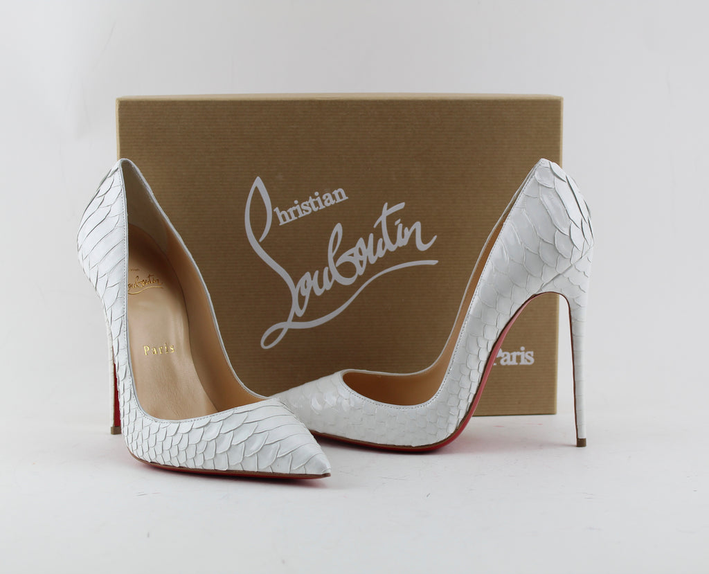 CHRISTIAN LOUBOUTIN SO KATE PYTHON SIZE 38 PUMPS | LuxurySnob authentic Louboutin shoes second hand, second hand Christian Louboutin, pre owned red bottom shoes