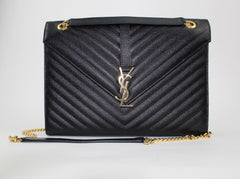 SAINT LAURENT LARGE ENVELOPE GRAIN DE POUDRE CHAIN BAG