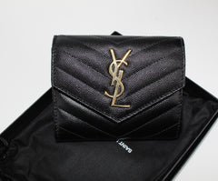 SAINT LAURENT V FLAP MONOGRAM WALLET