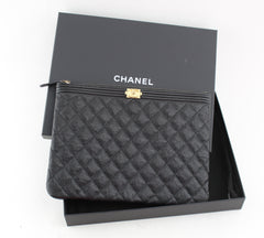 CHANEL GRAINED CALFSKIN BOY POUCH