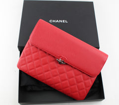 CHANEL SIGNATURE  POUCH RED