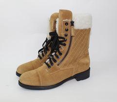 CHANEL SHEARLING COMBAT BOOTS - LuxurySnob