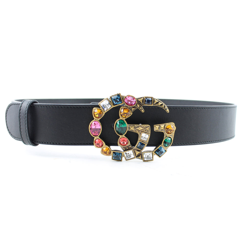 d64f96e5be2 GUCCI LEATHER BELT WITH CRYSTAL DOUBLE G BUCKLE 80 32 – LuxurySnob