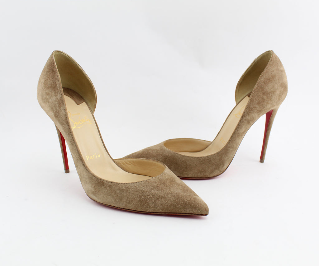 CHRISTIAN LOUBOUTIN IRIZA CAPPUCCINO 100mm SIZE 39 PUMPS | LuxurySnob authentic Louboutin shoes second hand, second hand Christian Louboutin, pre owned red bottom shoes