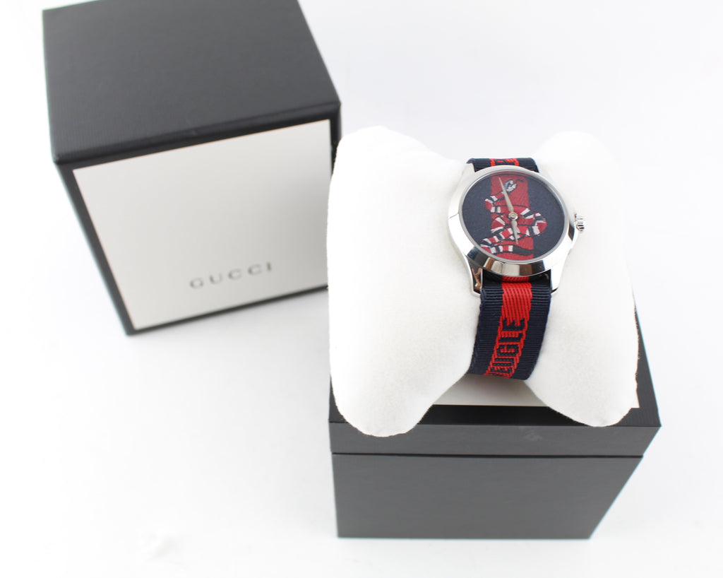 GUCCI LE MARCHE DES MERVEILLES WATCH ACCESSORIES | LuxurySnob genuine Gucci second hand, second hand Gucci handbags, pre owned Gucci shoes