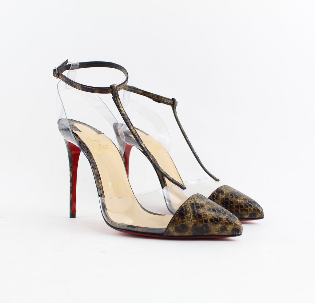 CHRISTIAN LOUBOUTIN NOSY 100 PYTHON LEO/PVC SIZE 37.5 PUMPS | LuxurySnob authentic Louboutin shoes second hand, second hand Christian Louboutin, pre owned red bottom shoes