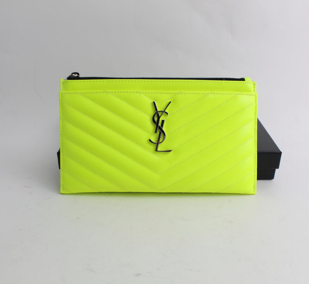 SAINT LAURENT MONOGRAMME NEON LEATHER CLUTCH CLUTCH | LuxurySnob: pre owned luxury handbags, authentic designer goods second hand, second hand luxury bags, gently used designer shoes