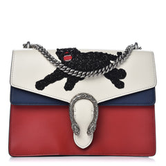 GUCCI CALFSKIN PANTHER EMBROIDERED MEDIUM DIONYSUS SHOULDER BAG - LuxurySnob