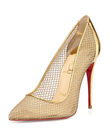 CHRISTIAN LOUBOUTIN METALLIC FOLLIES RESILE GLITTER FISHNET SIZE 39