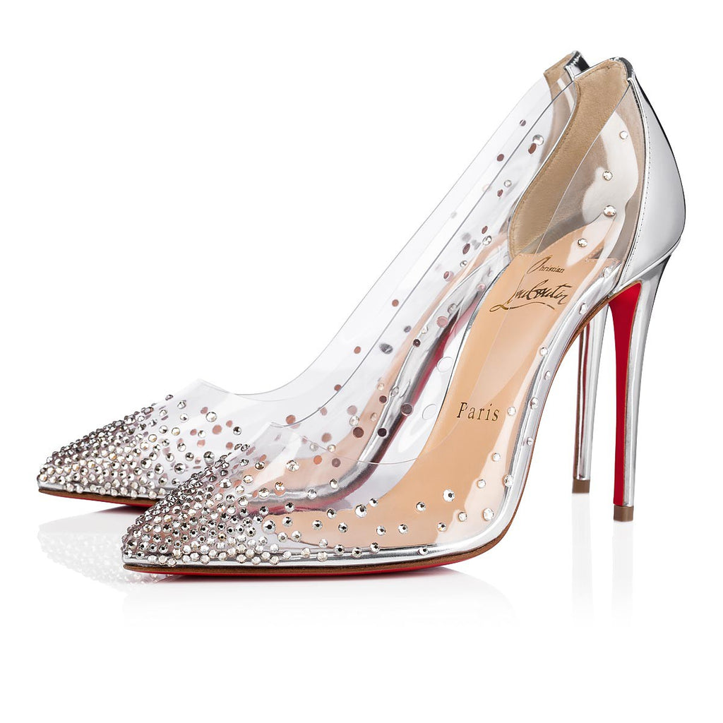 CHRISTIAN LOUBOUTIN DEGRASTRASS CLEAR EMBELLISHED PUMP SIZE 39.5 - LuxurySnob