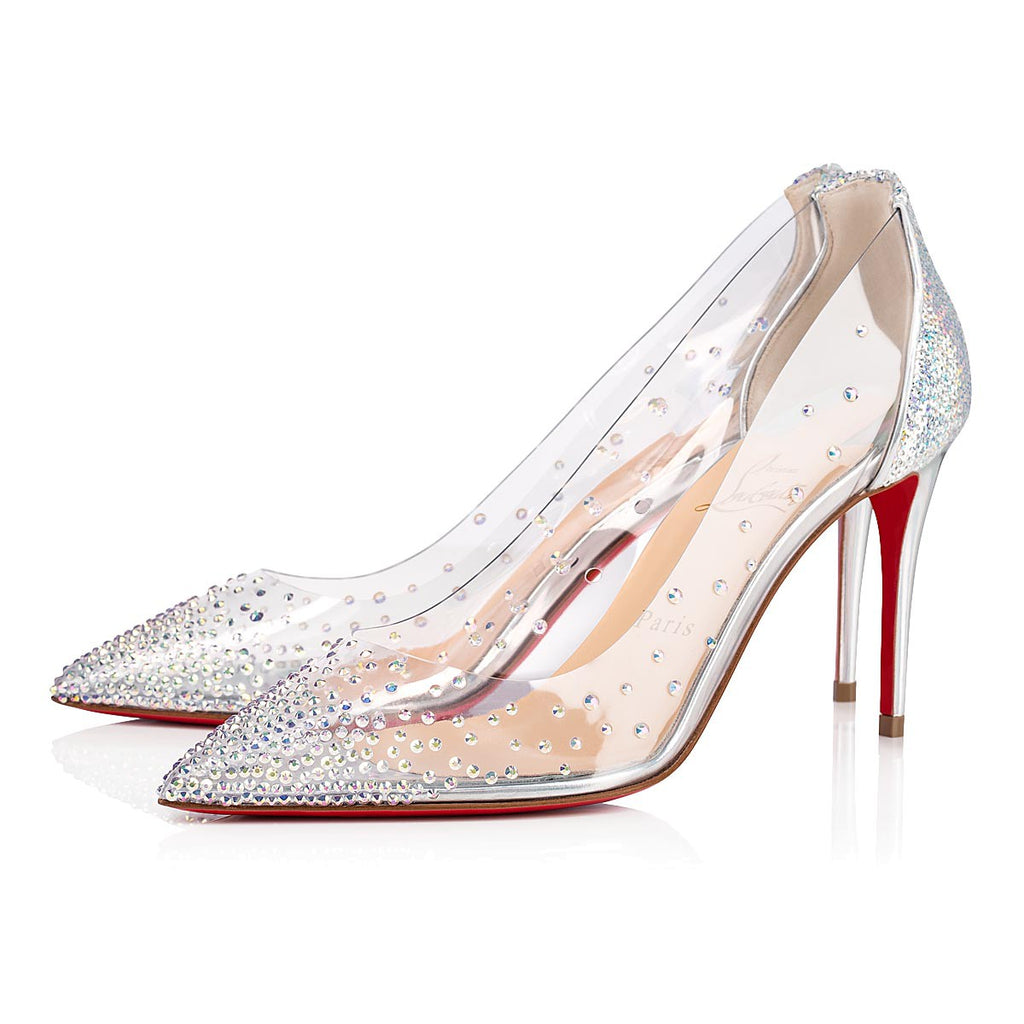 CHRISTIAN LOUBOUTIN DEGRASTRASS PVC 85 MM SIZE 39 PUMPS | LuxurySnob authentic Louboutin shoes second hand, second hand Christian Louboutin, pre owned red bottom shoes