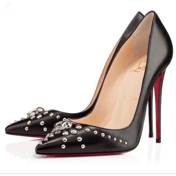 CHRISTIAN LOUBOUTIN DOOR KNOCK 120mm SIZE 38 PUMPS | LuxurySnob authentic Louboutin shoes second hand, second hand Christian Louboutin, pre owned red bottom shoes