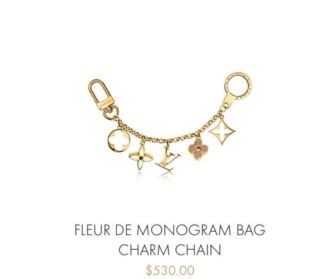LOUIS VUITTON FLEUR DE MONOGRAM BAG CHARM CHAIN