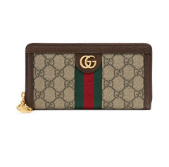 GUCCI OPHIDIA CANVAS ZIP AROUND  WALLET