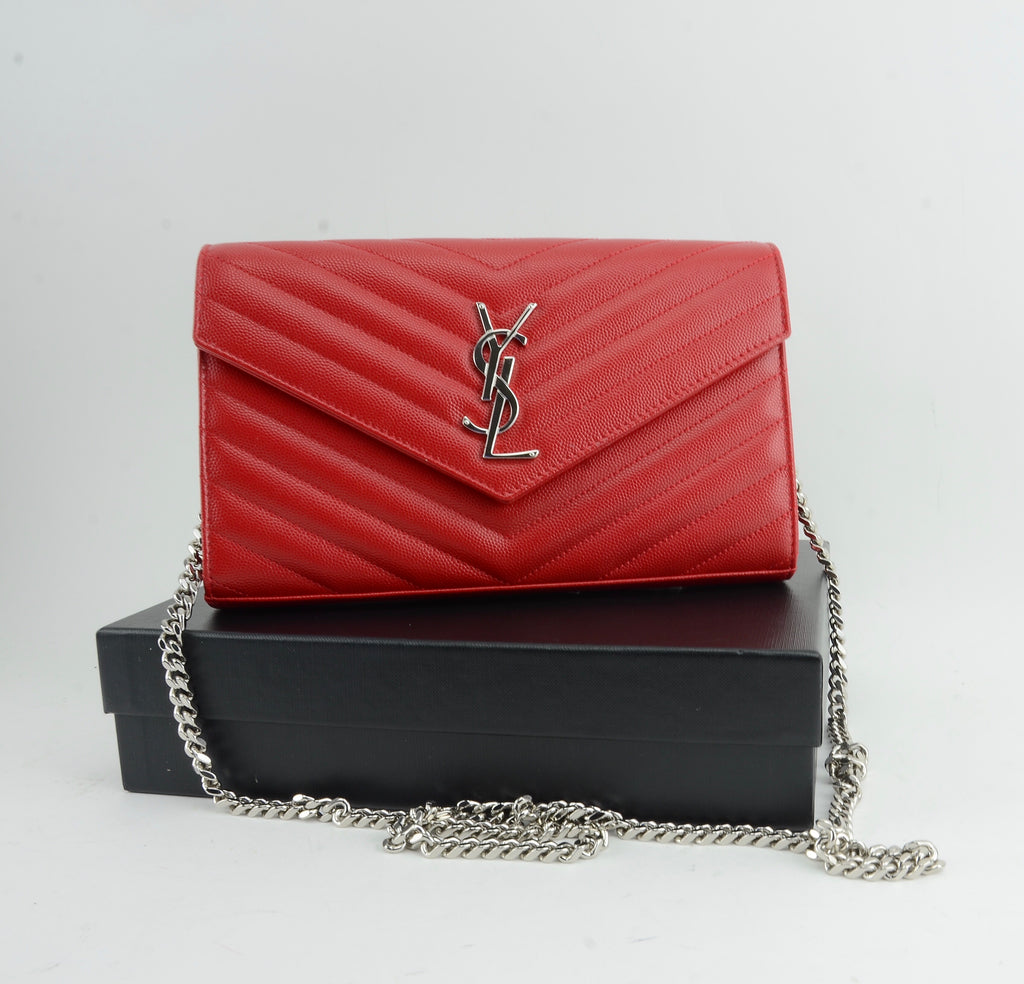 YSL ENVELOPE MONOGRAM CHAIN WALLET RED