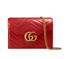GUCCI GG MARMONT CHEVRON FLAP CHAIN BAG