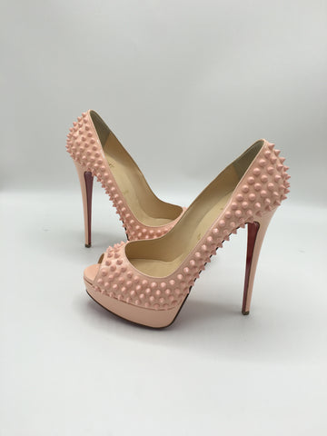 CHRISTIAN LOUBOUTIN LADY PEEP SPIKES BABY PINK SIZE 40.5