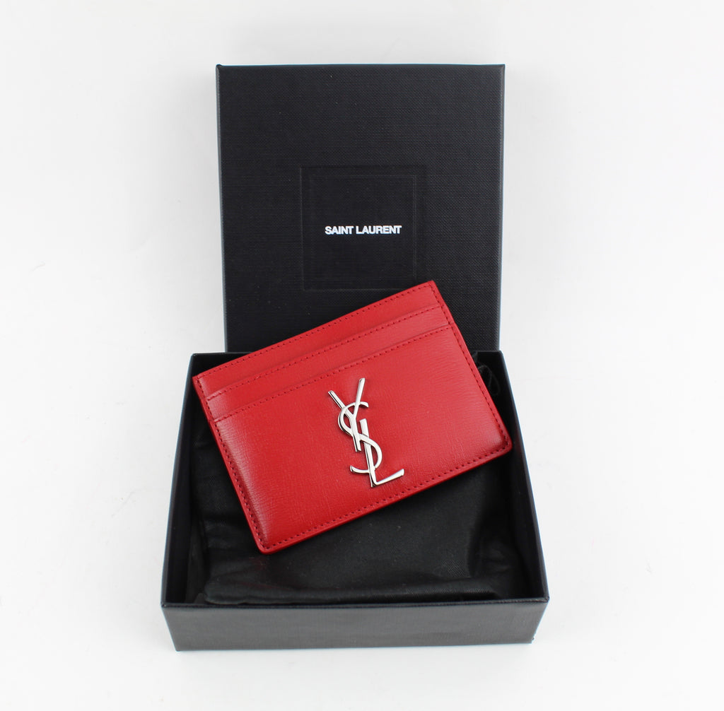 YSL CARD HOLDER ACCESSORIES | LuxurySnob authentic Yves Saint Laurent used, pre owned YSL bags, second hand Saint Laurent shoes