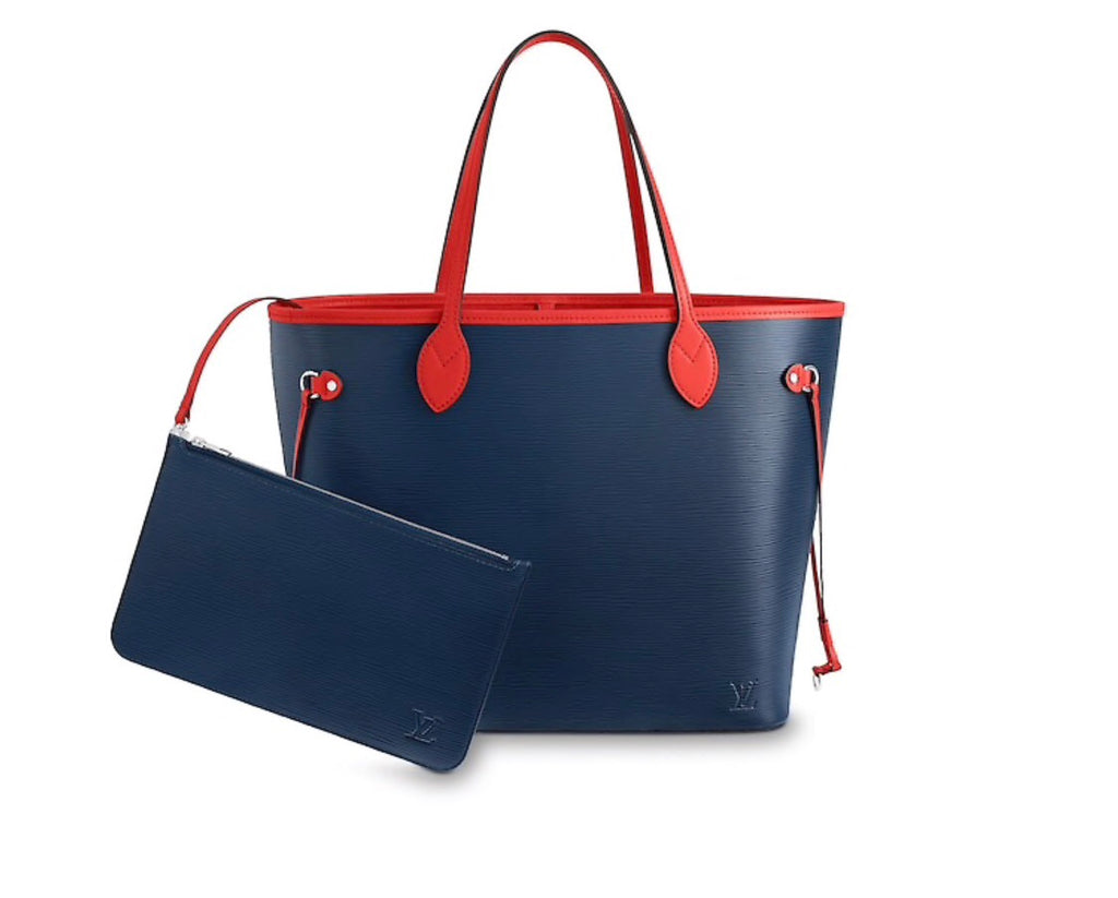 LOUIS VUITTON NEVERFULL MM  EPI INDIGO COQUELICOT