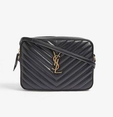 YSL LOU LOU CAMERA BAG IN MATELASSÉ BLACK LEATHER