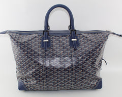 GOYARD BOEING DUFFLE 45 BLUE LUGGAGE | LuxurySnob: pre owned luxury handbags, authentic designer goods second hand, second hand luxury bags, gently used designer shoes