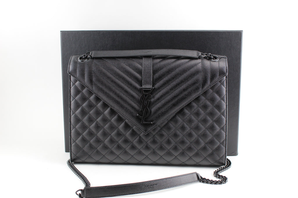 SAINT LAURENT LARGE ENVELOPE CHAIN BAG IN BLACK GRAIN DE POUDRE TEXTURED MATELASSÉ LEATHER - LuxurySnob