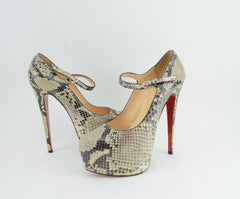 CHRISTIAN LOUBOUTIN LADY DAF 160 PYTHON PUMPS | LuxurySnob authentic Louboutin shoes second hand, second hand Christian Louboutin, pre owned red bottom shoes