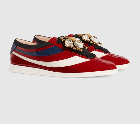 GUCCI FALACER PATENT LEATHER WOMEN SNEAKERS SIZE 38