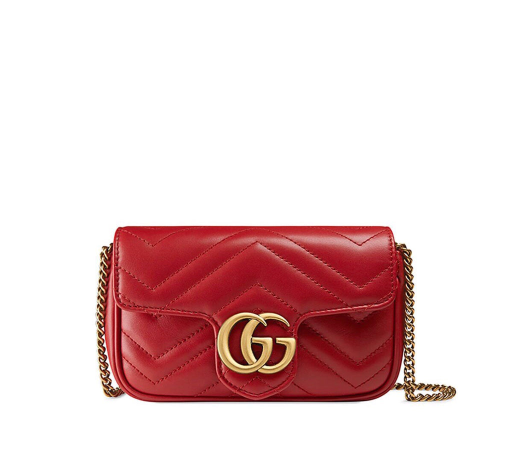 GUCCI  GG MARMONT LEATHER SUPER MINI BAG RED - LuxurySnob