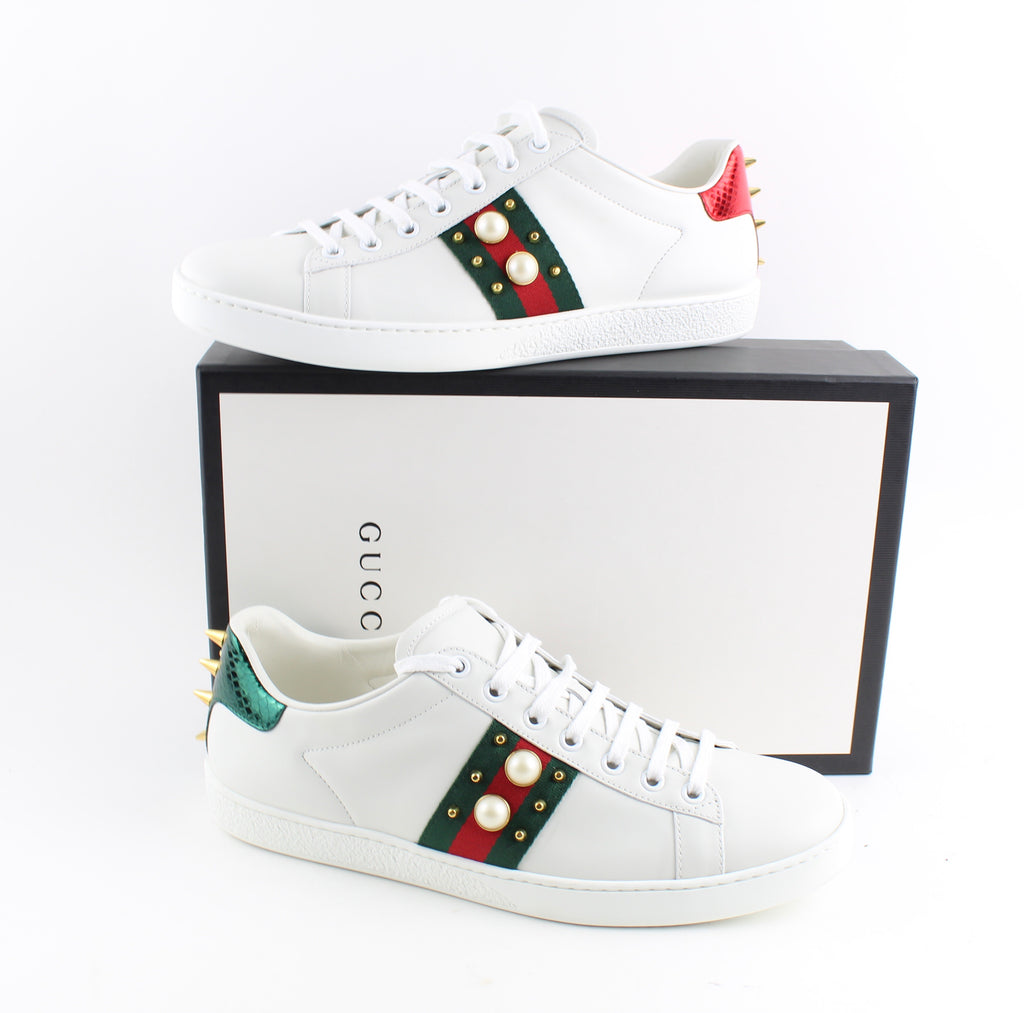 GUCCI ACE STUDDED LEATHER SNEAKERS SNEAKERS | LuxurySnob: pre owned luxury handbags, authentic designer goods second hand, second hand luxury bags, gently used designer shoes