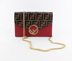 FENDI LOGO LEATHER CHAIN BAG CROSSBODY BAGS | LuxurySnob: pre owned luxury handbags, authentic designer goods second hand, second hand luxury bags, gently used designer shoes