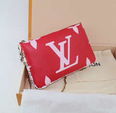 LOUIS VUITTON POUCHETTE DOUBLE ZIP MONGRAM GIANT CHAIN BAG