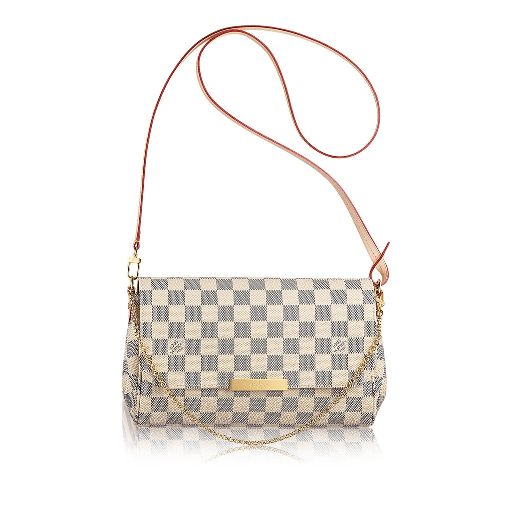 LOUIS VUITTON FAVORITE MM DAMIER AZUR CROSSBODY BAGS | LuxurySnob authentic Louis Vuitton resale, buy and sell second hand Louis Vuitton, gently used Louis Vuitton
