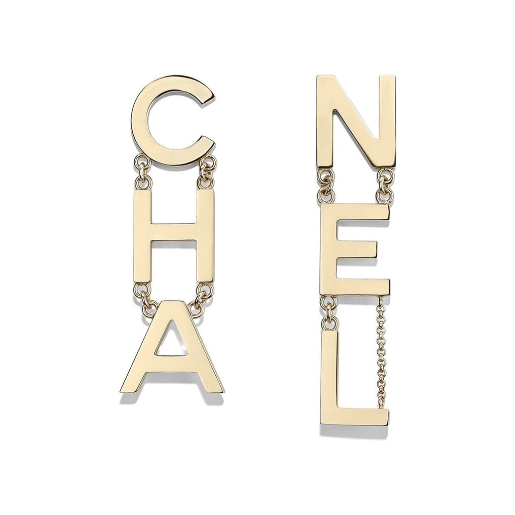 CHANEL METAL CHA-NEL LOGO DROP EARRINGS - LuxurySnob
