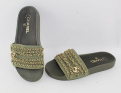 CHANEL CANVAS CHAIN FLAT SANDALS SIZE 38 SANDALS | LuxurySnob: pre owned luxury handbags, authentic designer goods second hand, second hand luxury bags, gently used designer shoes