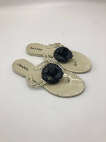 CHANEL CAMELLIA SLIPPERS SIZE 38