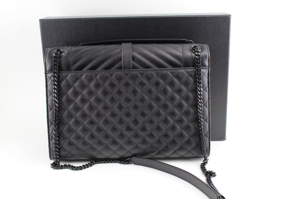 eedae9901b7e ... SAINT LAURENT LARGE ENVELOPE CHAIN BAG IN BLACK GRAIN DE POUDRE  TEXTURED MATELASSÉ LEATHER