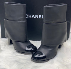 CHANEL CALF LEATHER PATENT CAP TOE  FOLD OVER BOOTS - LuxurySnob