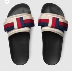 GUCCI SATIN SLIDE WITH WEB BOW SIZE 41