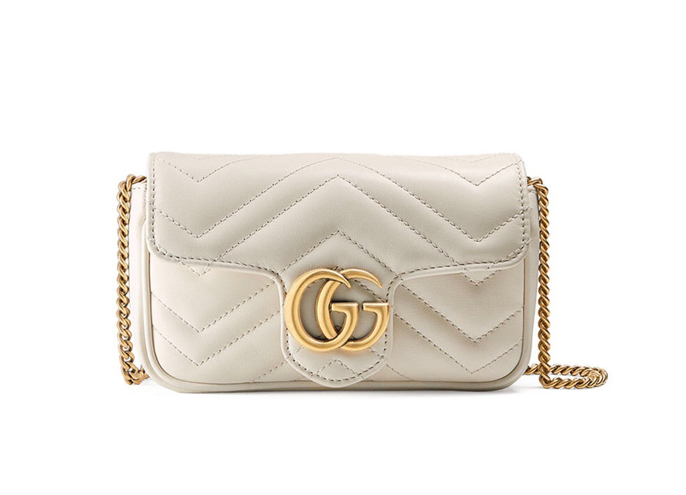 GUCCI GG MARMONT LEATHER SUPER MINI BAG CROSSBODY BAGS | LuxurySnob: pre owned luxury handbags, authentic designer goods second hand, second hand luxury bags, gently used designer shoes