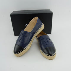 CHANEL ESPADRILLES NAVY  SIZE 40