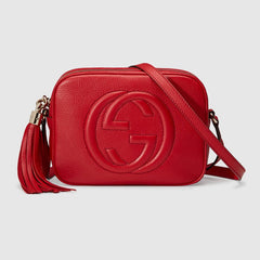 GUCCI SOHO LEATHER DISCO BAG RED CROSSBODY BAGS | LuxurySnob: pre owned luxury handbags, authentic designer goods second hand, second hand luxury bags, gently used designer shoes