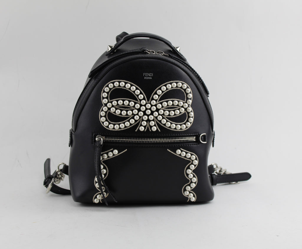 FENDI MINI PEARL BOW LEATHER BACKPACK