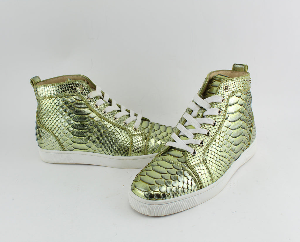 CHRISTIAN LOUBOUTIN PYTHON SNEAKERS SIZE 40 SNEAKERS | LuxurySnob authentic Louboutin shoes second hand, second hand Christian Louboutin, pre owned red bottom shoes