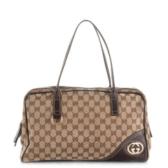 VINTAGE GUCCI MONOGRAM MEDIUM NEW BRITT BOSTON HANDBAG - LuxurySnob
