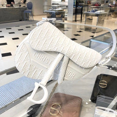 CHALK WHITE SADDLE DIOR OBLIQUE EMBOSSED SMOOTH CALFSKIN BAG