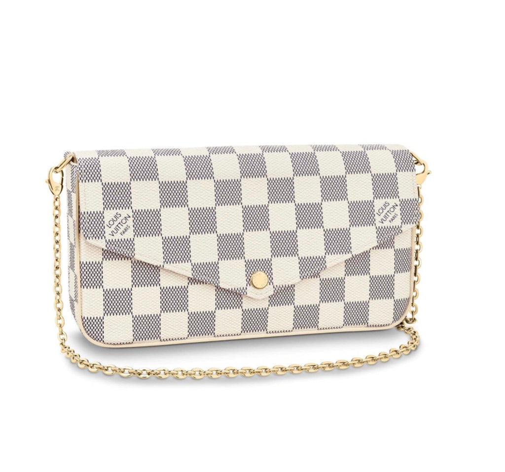 LOUIS VUITTON POCHETTE FELICIE AZUR CROSSBODY BAGS | LuxurySnob: pre owned luxury handbags, authentic designer goods second hand, second hand luxury bags, gently used designer shoes