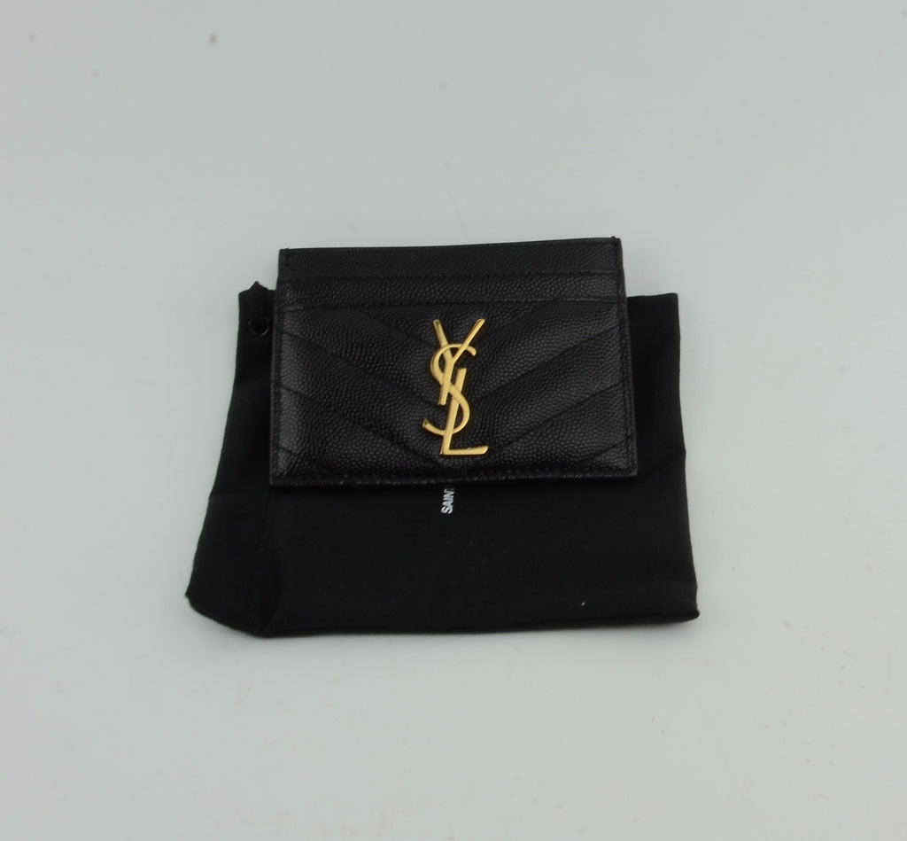 YSL BLACK QUILTED CARD HOLDER