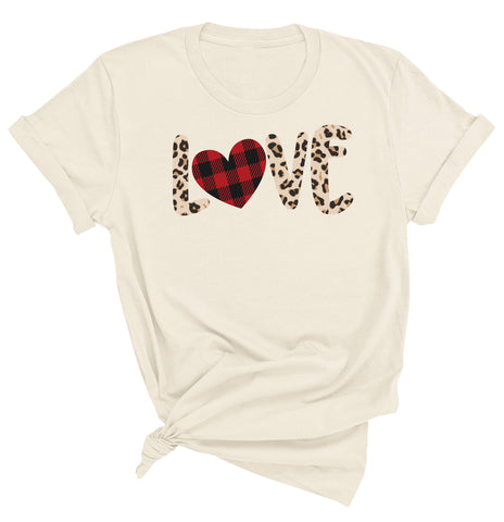 Leopard Print Love Valentine Day Heart  T-shirt