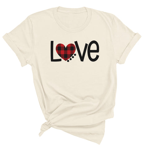 Buffalo Plaid Heart LoveValentine Day T-shirt